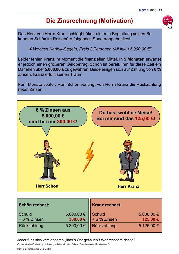 Die Zinsrechnung (Motivation und Einführung) Teil 1 - Arbeitsblatt ...