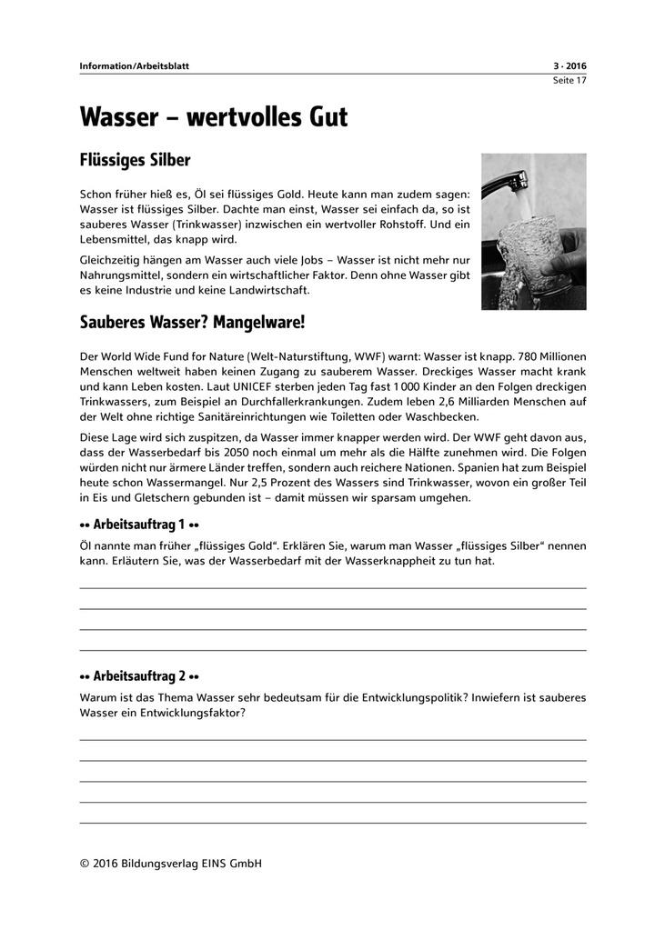 Wasser - wertvolles Gut - Arbeitsblatt - editierbare Seiten ...