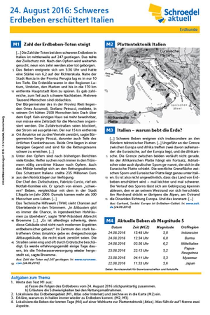 24. August 2016: Schweres Erdbeben erschüttert Italien - - Erdkunde ...