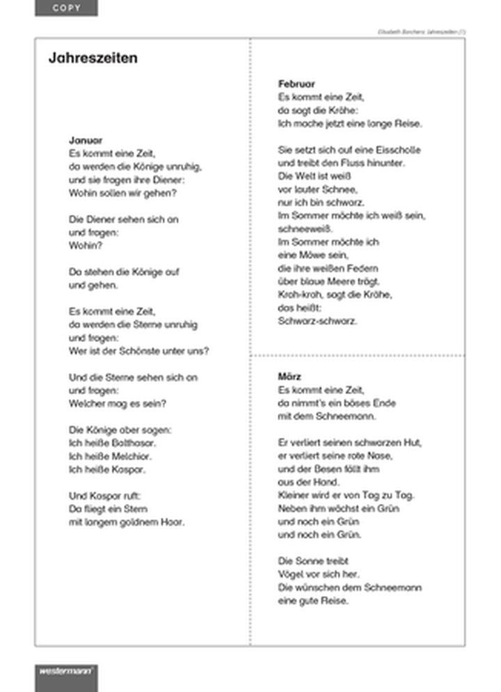 Arbeitsblätter Gedichte