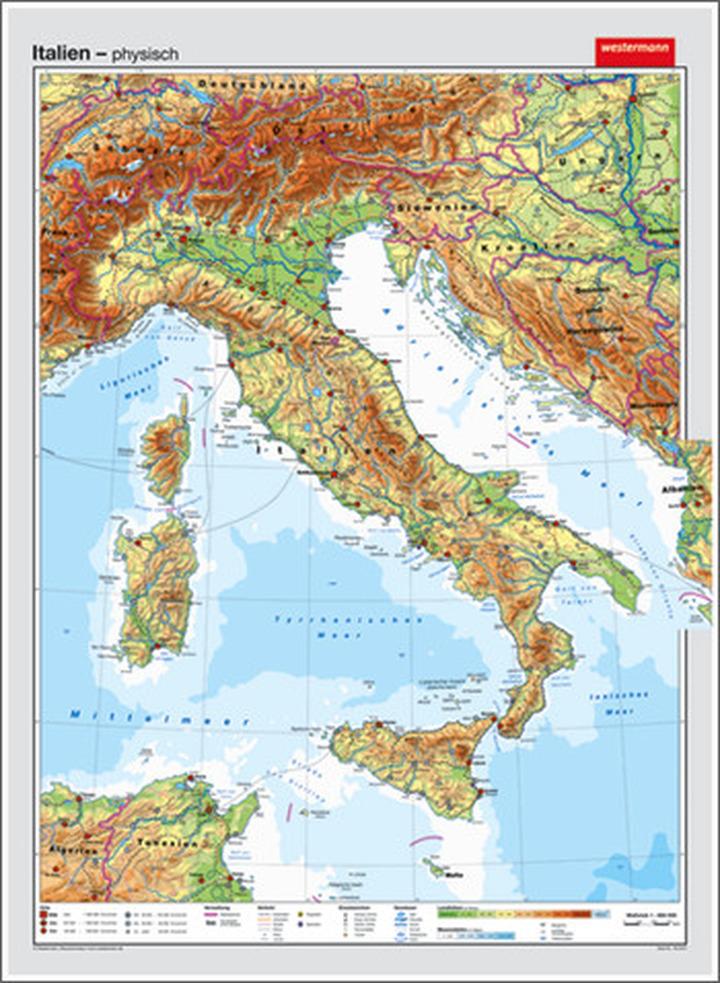 italien  vorderseite physisch  rückseite politisch