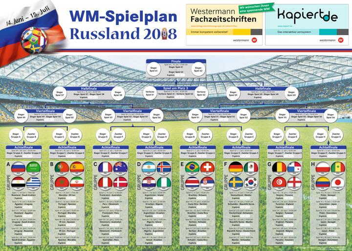 Wm Spielplan Mit Lander Stickern Poster Fur Den Klassenraum Zur Fusball Weltmeisterschaft  In Russland Das Grundschulprogramm Der Westermann Gruppe