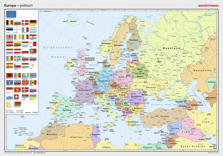 posterkarten geographie europa politisch westermann gruppe in der schweiz. Black Bedroom Furniture Sets. Home Design Ideas