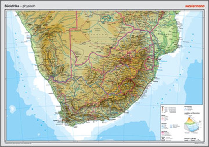 Posterkarten Geographie - Südafrika: physisch: Das ...
