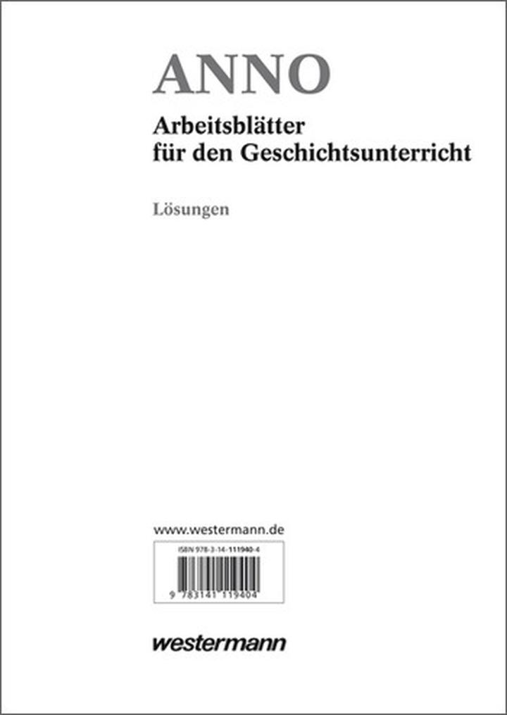 ANNO Arbeitsblätter - Lösungen zu den Kopiervorlagen: Westermann Verlag