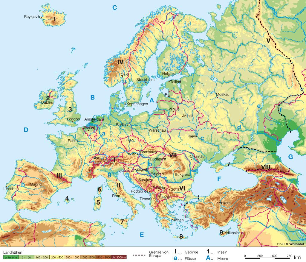 Gebirge europa karte mit namen