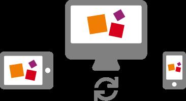 Eine Grafik, die mehrere Geräte zeigt. EIn Tablet, ein PC Bildschirm und ein Handy. Auf den Bildschirmen sind drei Würfel in den Farben des BiBox Logos zu sehen: orange, violett und rot.