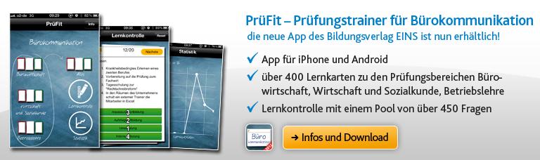 PrüFit - Prüfungstrainer für Bürokommunikation - die neue App des Bildungsverlags EINS ist nun erhältlich!