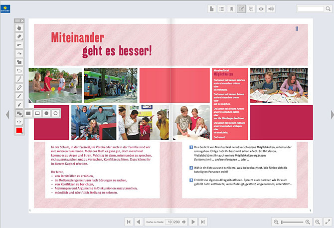 Buchregal Digitale Schulbücher = eine detaillierte Übersicht der funktionsweisen und