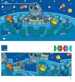 Im Planetarium - Suche die gleichen Puzzlestücke.