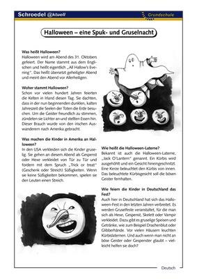 Halloween – eine Spuk- und Gruselnacht - - ein Arbeitsblatt über das ...