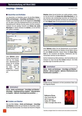 Textverarbeitung Mit Word 2003 Umschläge Etiketten