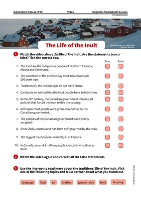 The Life of the Inuit - Arbeitsblatt zum Video: Verlage der ...