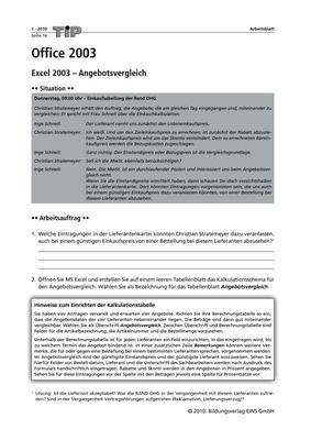 Office 2003 Excel 2003 Angebotsvergleich Logo Verlag