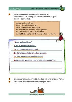 Sätze erkennen und Punkte setzen - Satzzeichen (Punkt) - Lösungen ...