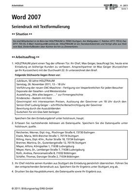 Word 2007 - Seriendruck mit Textformulierung - Arbeitsblatt: Verlage ...
