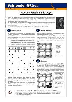 Sudoku – Rätseln mit Strategie - - ein Arbeitsblatt zur ...
