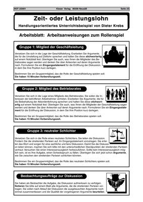 Zeit- oder Leistungslohn - Arbeitsblatt: Arbeitsanweisungen zum ...