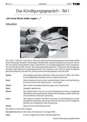 Das Kündigungsgespräch - Teil I - Arbeitsblatt: Spectra Verlag