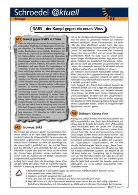 Sars Der Kampf Gegen Ein Neues Virus Ein Aktuelles Arbeitsblatt Zur Lungenerkrankung Sars