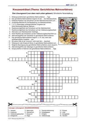 Kreuzworträtsel Gerichtliches Mahnverfahren Kreuzworträtsel