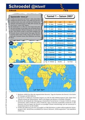 Formel 1 – Saison 2007 - - ein Arbeitsblatt mit geografischen ...