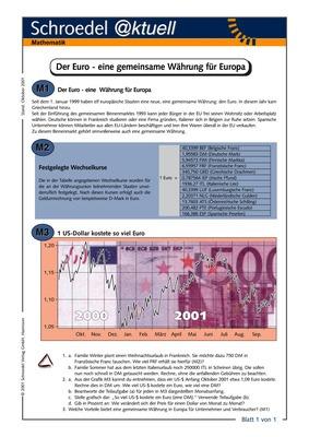 Der Euro - eine gemeinsame Währung für Europa - - ein Arbeitsblatt ...