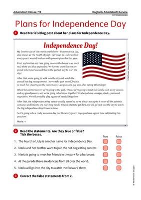 Plans for Independence Day - Arbeitsblatt zum US-amerikanischen ...