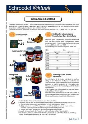 Einkaufen in Euroland - - ein Arbeitsblatt für den Mathematik ...