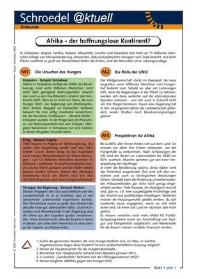 Afrika - der hoffnungslose Kontinent? - - ein Arbeitsblatt zu den ...