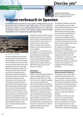 Arbeitsblatt Sek I: Wasserverbrauch in Spanien - inkl. Lösungen ...