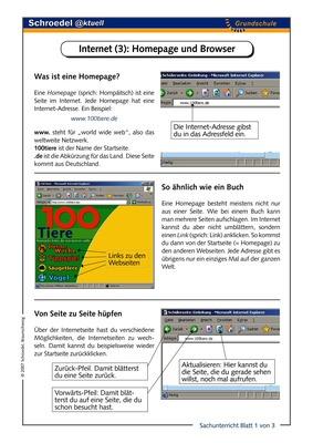 Internet (3): Homepage und Browser - - ein Arbeitsblatt mit ...