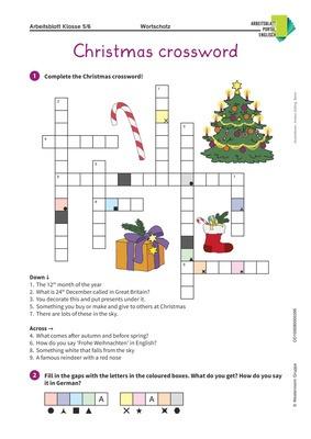 Christmas Crossword Englisch Kreuzworträtsel über Weihnachten