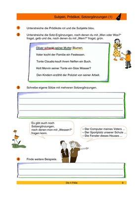 Subjekt, Prädikat, Satzergänzungen 1 - Satzglieder erkennen und ...