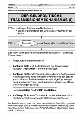 Der geldpolitische Transmissionsmechanismus - Arbeitsblatt: Verlage ...