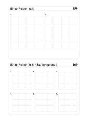 bingofelder und zauberquadrate blanko 3x3 und 4x4