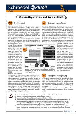Die Landtagswahlen und der Bundesrat - - ein Arbeitsblatt zu ...