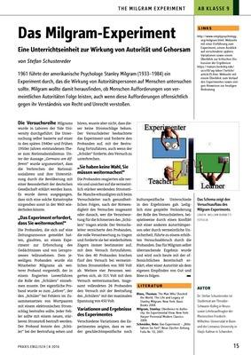 Das Milgram-Experiment - Eine Unterrichtseinheit zur Wirkung von ...