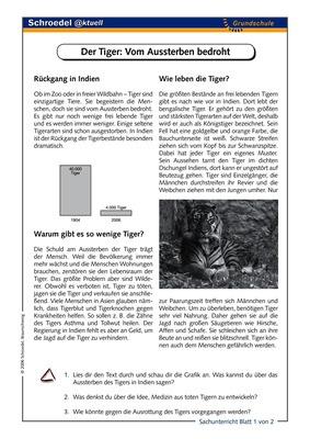 Der Tiger: Vom Aussterben bedroht - - ein Arbeitsblatt über die ...