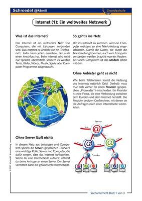 Internet 1 Ein Weltweites Netzwerk Drei Arbeitsblätter Zum Thema Internet Ab Klasse 3