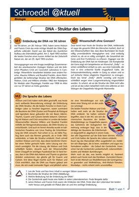 DNA - Struktur des Lebens - - ein Arbeitsblatt zur Entdeckung der ...