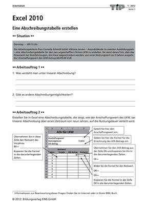 Excel 2010 - Eine Abschreibungstabelle erstellen - Arbeitsblatt ...