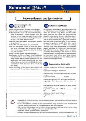 Redewendungen und Sprichwörter - - ein Arbeitsblatt zur Funktion von ...