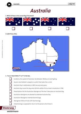 Australia - Arbeitsblatt zum Video \