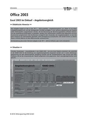 Office 2003 Excel 2003 Im Einkauf Angebotsvergleich Teil 2