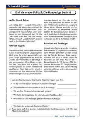 Endlich wieder Fußball: Die Bundesliga beginnt - - ein Arbeitsblatt ...