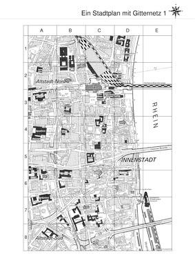 ein stadtplan mit gitternetz orientierung auf pl228nen