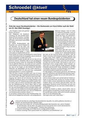 Deutschland hat einen neuen Bundespräsidenten - - ein Arbeitsblatt ...