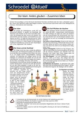 der islam anders glauben zusammen leben ein arbeitsblatt zur geschichte des islam zum. Black Bedroom Furniture Sets. Home Design Ideas