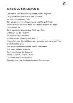Toni und die Fahrradprüfung - Diktattext: Verlage der Westermann Gruppe